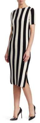 Akris Punto Striped Wool Midi Dress