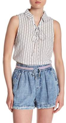 Skies Are Blue Lace-Up Patterned Tank