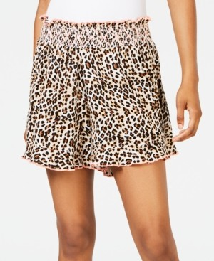 Miken Juniors' Animal-Print Smocked Cover-up Shorts, Created for Macy's Women's Swimsuit