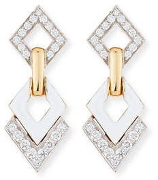 David Webb White Enamel & Diamond Interlocking Diamond Earrings