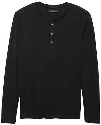 Banana Republic Waffle-Knit Henley Thermal T-Shirt