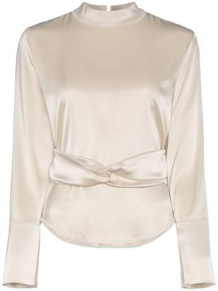 Nanushka almond belted satin blouse
