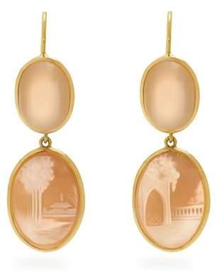 Brigid Blanco - Moonstone, Shell & Yellow Gold Earrings - Womens - Pink