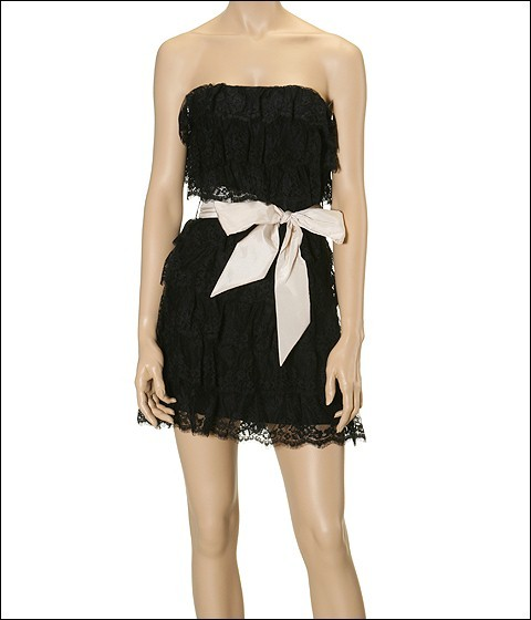 Betsey Johnson - Evening Show Lace Ruffles Strapless Dress (Black)