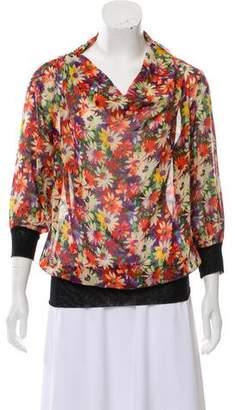 Jean Paul Gaultier Silk Floral Print Blouse