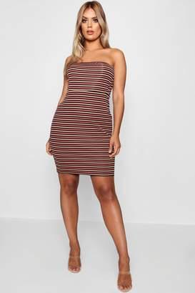 boohoo Plus Ribbed Stripe Bandeau Bodycon Dress