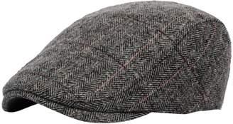 YueLian Men's Plaid Tweed Wool Adjustable Newsboy Ivy Duckbill Cap