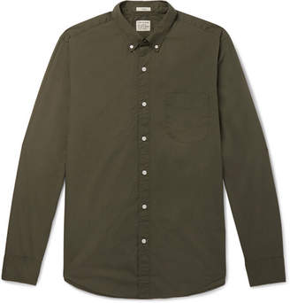J.Crew Garment-Dyed Stretch-Cotton Poplin Shirt - Army green