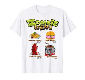 Zombie Menu TShirt- Funny Halloween Dishes for Zombie Lovers