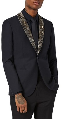 Men's Topman Skinny Fit Tuxedo Jacket With Paisley Shawl Lapel $275 thestylecure.com