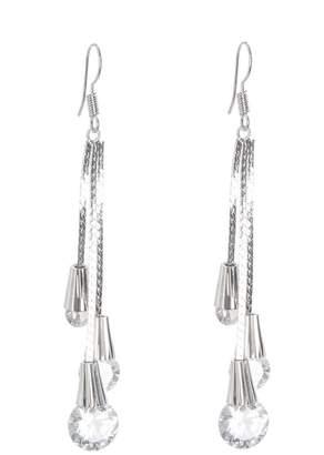 Quiz Silver Jewel Drop Tassel Earring