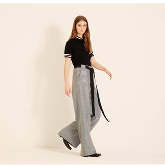 Amanda Wakeley Black White Herringbone Wide Leg Trousers