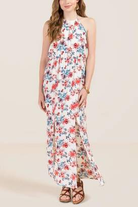 Violeta High Neck Floral Maxi Dress - Ivory