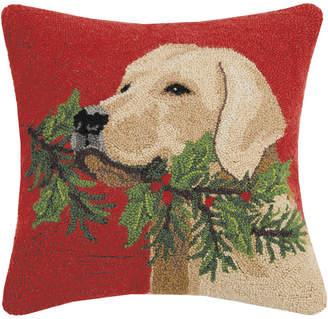 Peking Handicraft Golden Lab With Holly Branch Wool-Blend Decorative Pillow