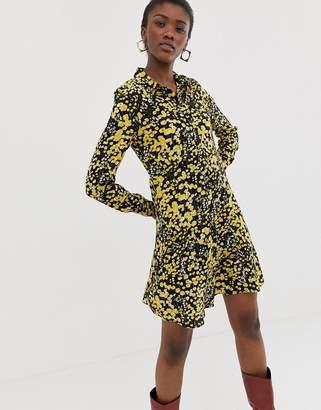 Pieces floral shirt dress