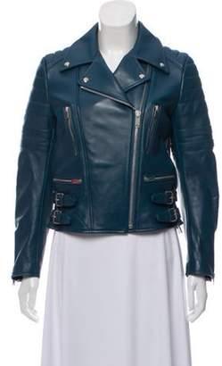 Celine Céline Leather Moto Jacket w/ Tags Teal Céline Leather Moto Jacket w/ Tags