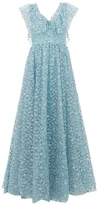 Luisa Beccaria Floral Embroidered Tulle Gown - Womens - Light Blue