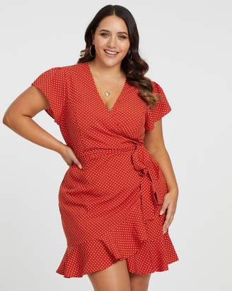 ICONIC EXCLUSIVE - Polka Dot Wrap Dress
