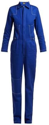 Aries - Contrast Stitching Denim Boiler Suit - Womens - Navy