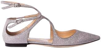 Jimmy Choo Ballet Flats Lancer Ballerina Flat In Glitter Leather With Braided Straps
