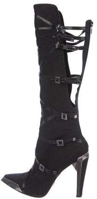 Herve Leger Pebbled Leather Boots