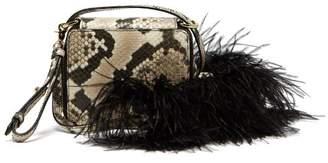 Marques Almeida Marques'almeida - Feather Trim Snake Effect Leather Shoulder Bag - Womens - Multi