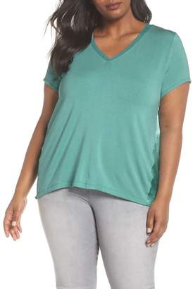 Sejour Mixed Media V-Neck Top (Plus Size)