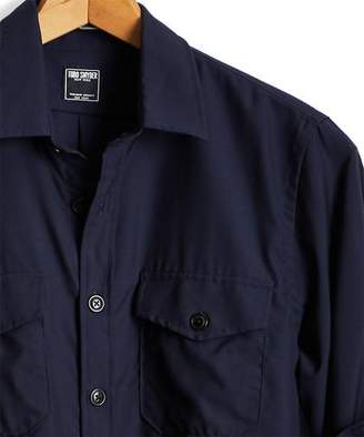 Todd Snyder Italian Wool Stretch Workshirt in Navy