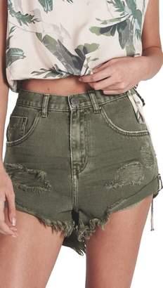 One Teaspoon High Waist Bandit Distressed Denim Shorts Green