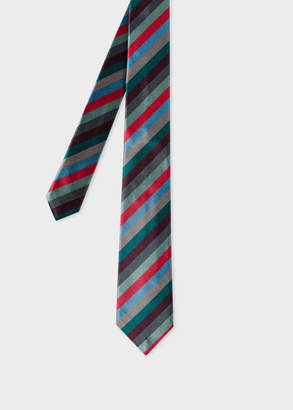 Paul Smith Men's Green Multi-Coloured Diagonal Stripe Narrow Silk Tie