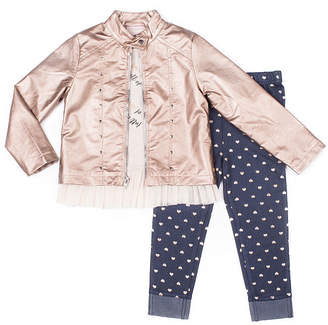 Little Lass 3-pc.Heart Faux Leather Jacket Legging Set-Baby Girls