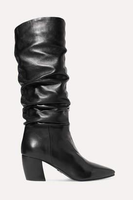 Prada Leather Knee Boots - Black