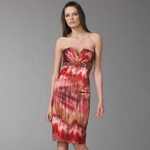 David Meister Ikat Strapless Satin Dress