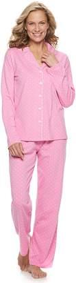 Croft & Barrow Women's Printed Notch Collar Shirt & Pants Pajama Set