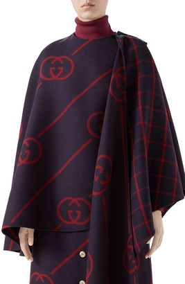 Gucci Interlocking-G Diagonal Stripe Wool & Silk Cape
