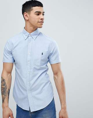 Polo Ralph Lauren Slim Fit Short Sleeve Oxford Shirt With Button Down Collar In Blue