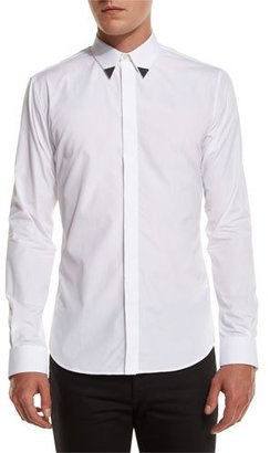 Givenchy Metal-Tip Point-Collar Shirt, White $665 thestylecure.com