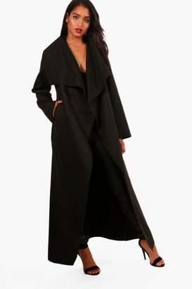 boohoo Maxi Waterfall Belted Coat