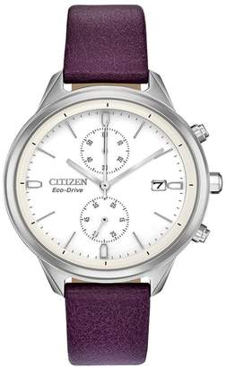 Citizen Women's Chandler Eggplant Vegan Leather Strap Watch, 39mm