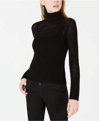 Bar III Perforated Pullover Turtleneck Sweater