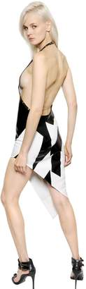 Anthony Vaccarello Asymmetrical Coated Crepe Dress