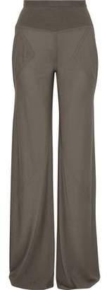 Rick Owens Ribbed Knit-Paneled Silk-Jersey Wide-Leg Pants
