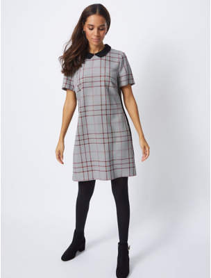 George Grey Check Collared Dress