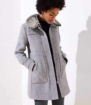 LOFT Faux Fur Collar Coat