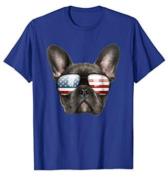 Funny Cute Patriotic French Bulldog Sunglasses Dog T-Shirt