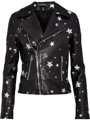 RtA Printed Leather Biker Jacket