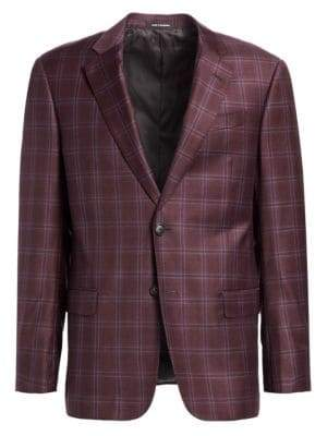 Emporio Armani Raspberry Wool Plaid G Line Sportcoat
