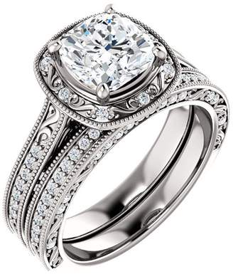 South Beach Diamonds 2.90 ct Ladies Cushion Cut Diamond Enaement Set in Platinum In Size 13.5
