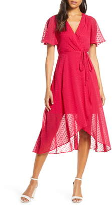 Vince Camuto Clip Dot Faux Wrap Dress