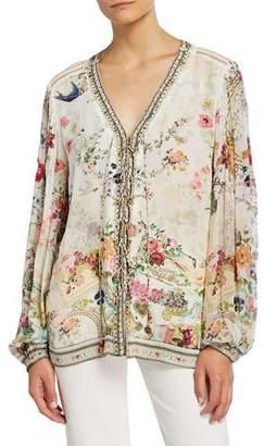 Camilla Printed Lace-Up Peasant Blouse